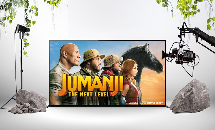 Promo-poster van Jumanji The Next Level op een BRAVIA-scherm