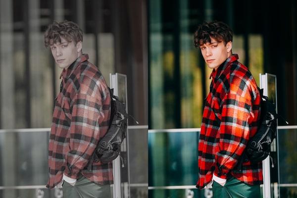 Voorbeeldafbeelding toont het verschil tussen voor en na kleurgradatie