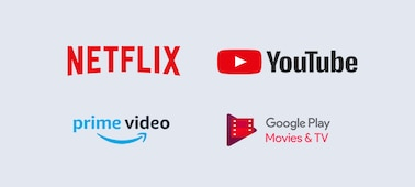 Logo's van Netflix, YouTube, Prime Video en Google Play