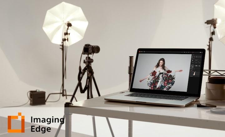 Afbeelding van een studio met het logo van Imaging Edge Desktop