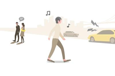 Illustratie van persoon die lopend naar muziek luistert