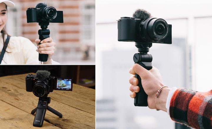 Situatieschetsen waarbij de GP-VPT2BT in de selfie-modus wordt gebruikt en voor opnamen van boven of onderen