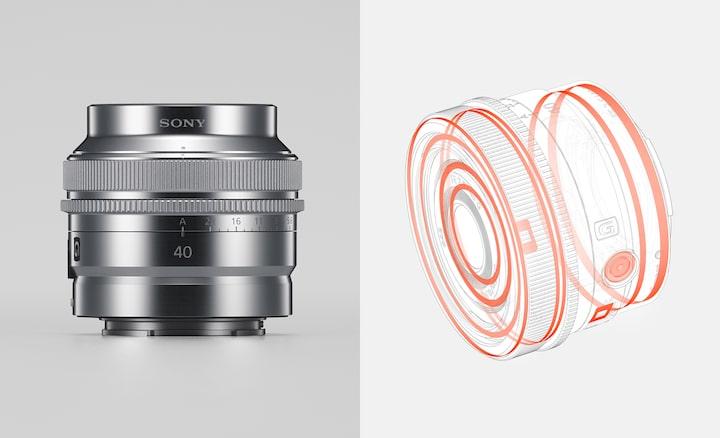 Gecombineerde productafbeelding die de stof- en vochtbestendige constructie en de metalen buitenafwerking van de lens laat zien