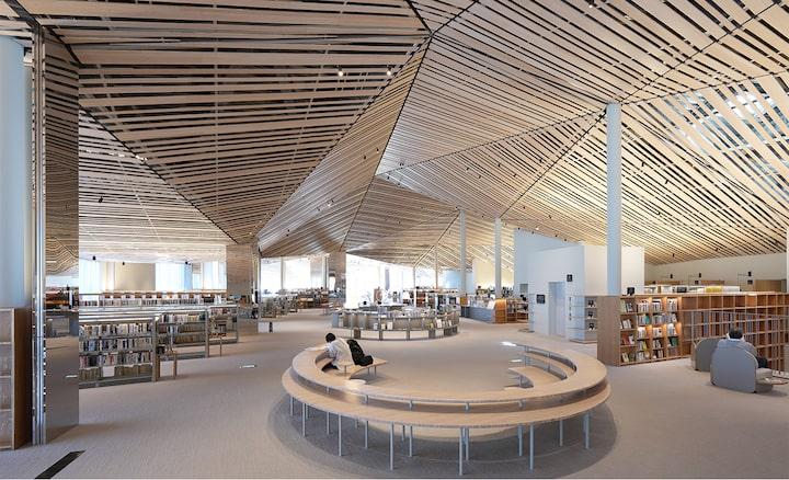 Afbeelding van het ontwerp van het interieur van een grote bibliotheek, met een plafond met veel rechte houten planken, met resolutie tot elke hoek van het scherm