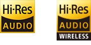 Logo's van Hi-Res Audio en Hi-Res Audio Wireless